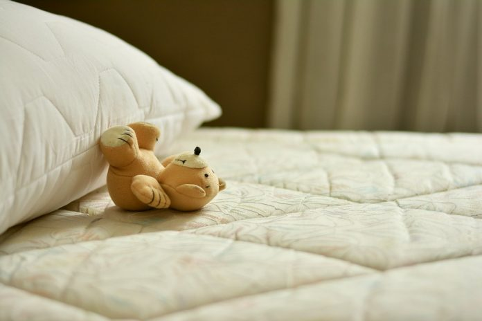 mattress with stuffed toy