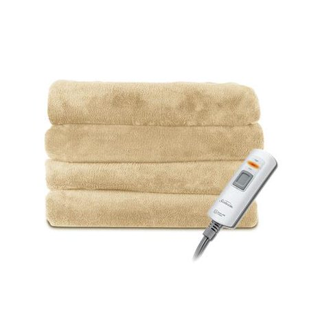 Sunbeam Microplush 2 Person Oversized Electric Heated Throw Blanket Sand Tan