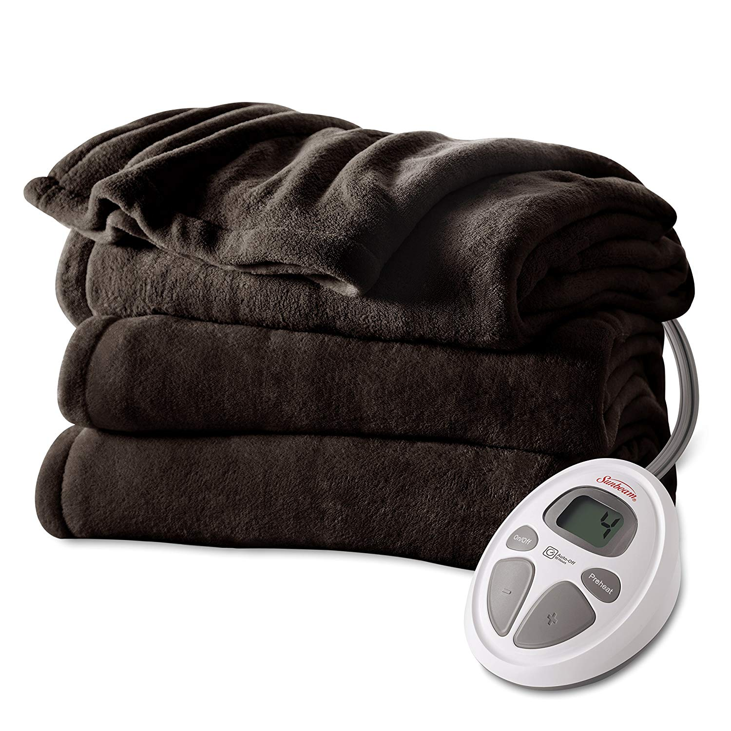 Sunbeam Electric Microplush Heated Blanket, Queen, Walnut (BSM9CQS-R470-12A00)