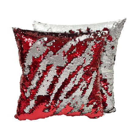 Set of 2 Decorative Sequin Throw Pillow 17x17 Inch