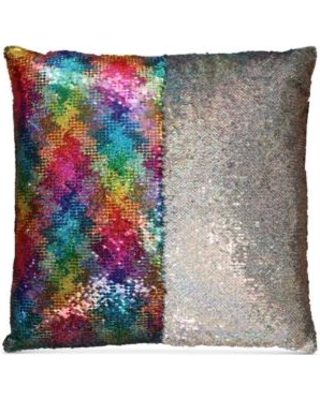 hallmart-collectibles-mermaid-colorblocked-rainbow-sequin-18-square decorative pillow rainbow