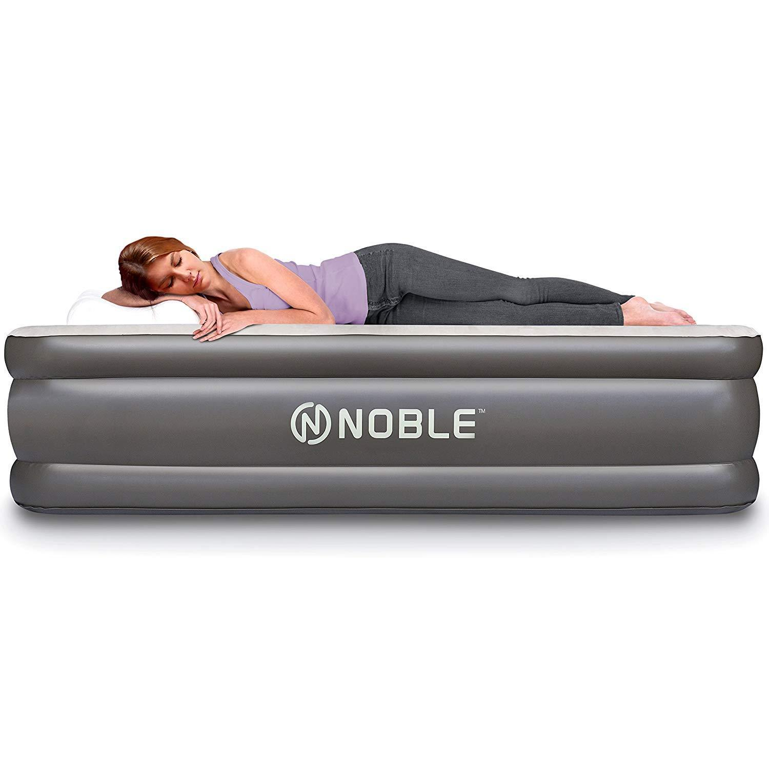 Noble Queen Size Comfort Double High Raised Air Mattress - Top Inflatable Airbed