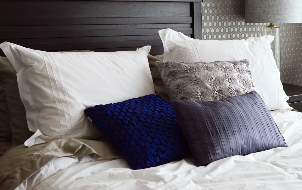 Pillows in a bed