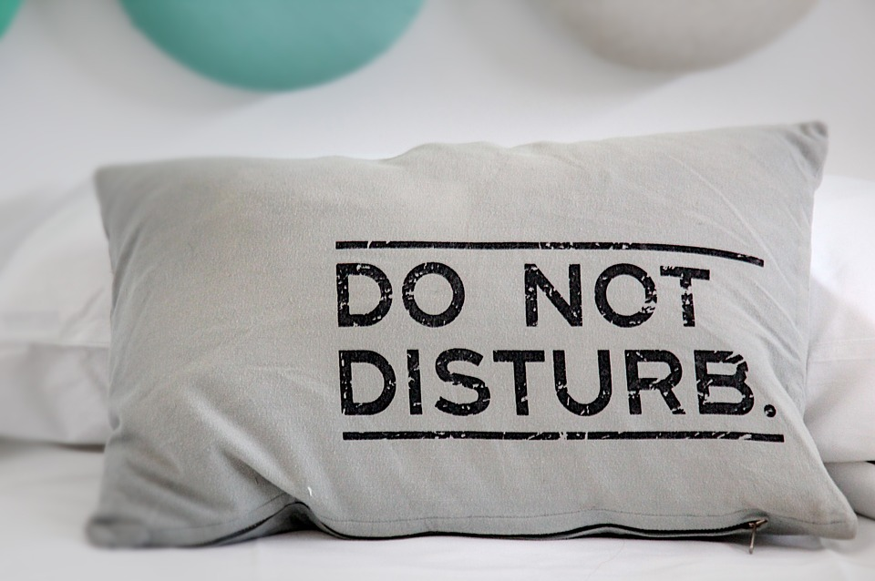 do not disturb white pillow